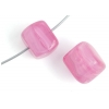 Glass Pressed Beads 8X10mm Cubes Fuchsia